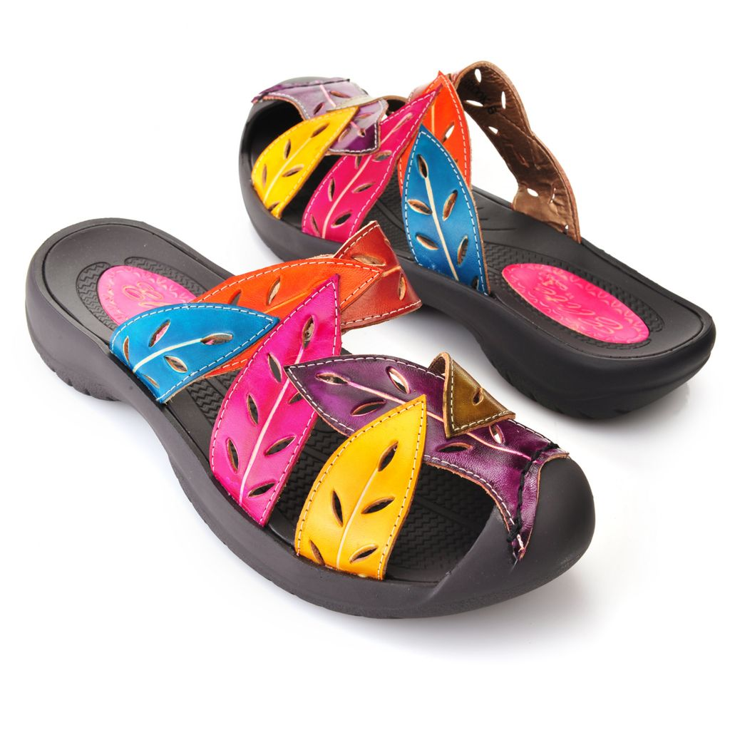 719-304 - Corkys Elite Hand-Painted Leather Laser Cut Leaf Design Bump Toe Sandals