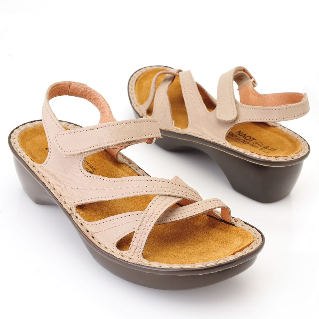 719-314 - NAOT® Leather Cork Footbed Crisscross Design Ankle Strap Comfort Sandals