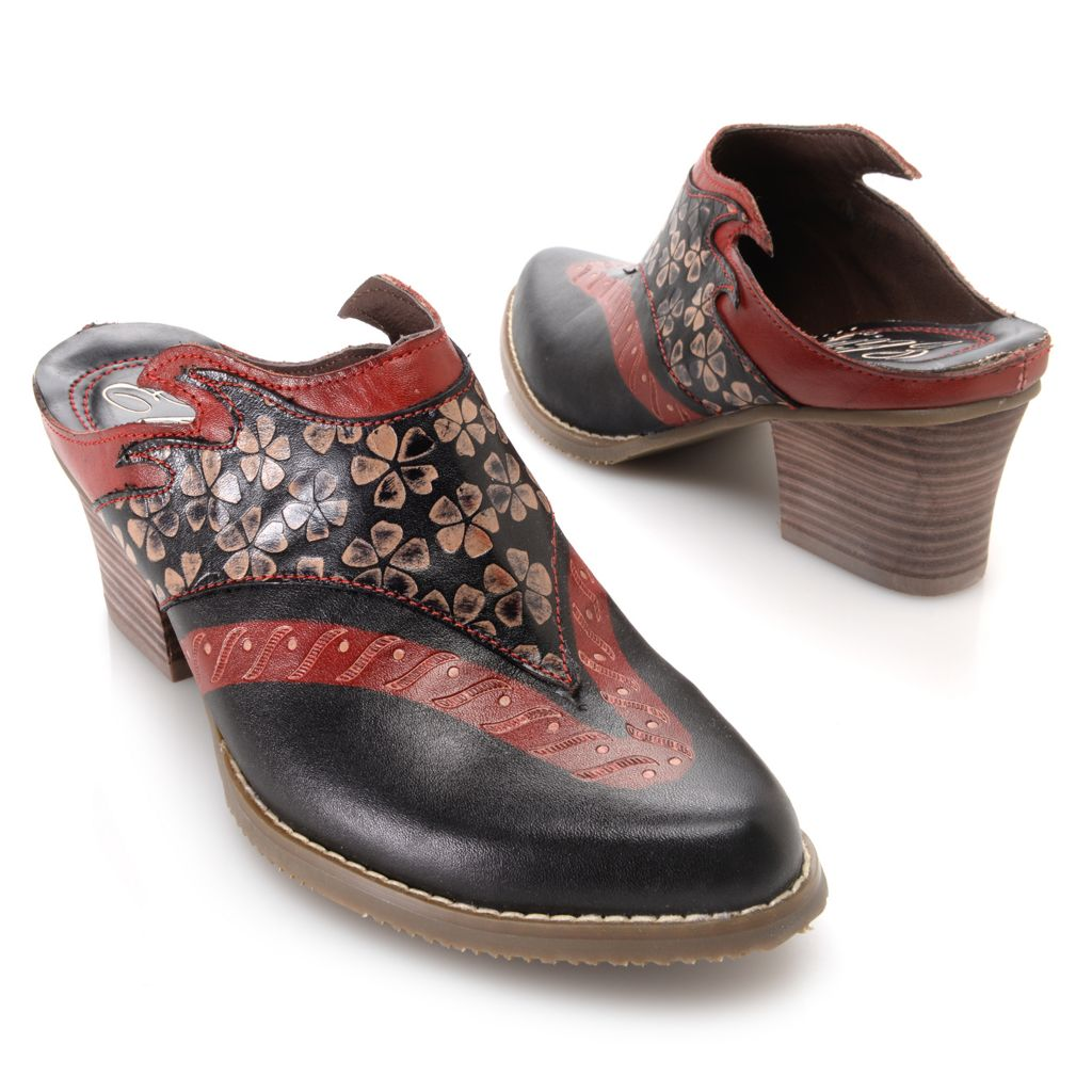 719-328 - Corkys Elite Hand-Painted Leather Floral Design Slip-on Shoes