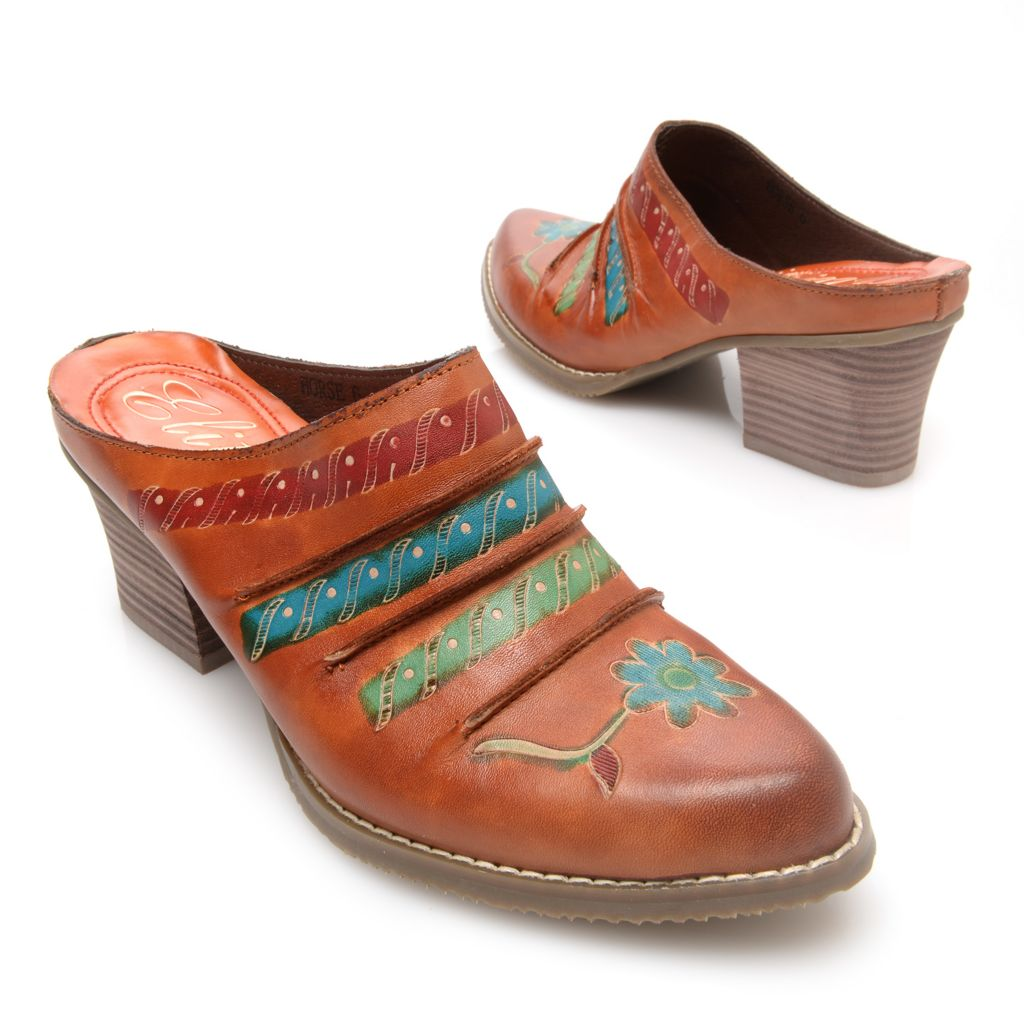 719-330 - Corkys Elite Hand-Painted Leather Open Back Slip-on Shoes