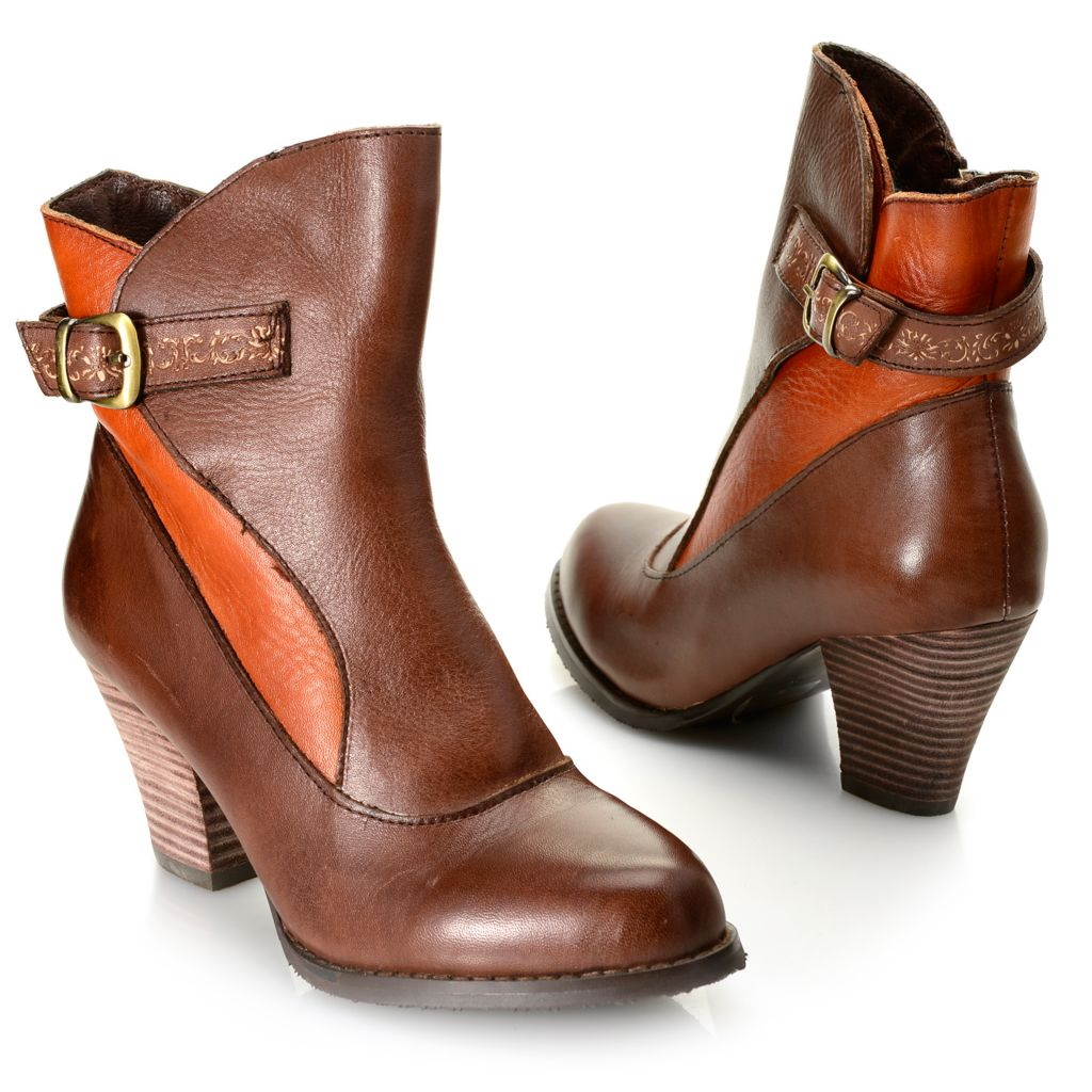 719-331 - Corkys Elite Leather Buckle Detailed Side Zip Ankle Boots