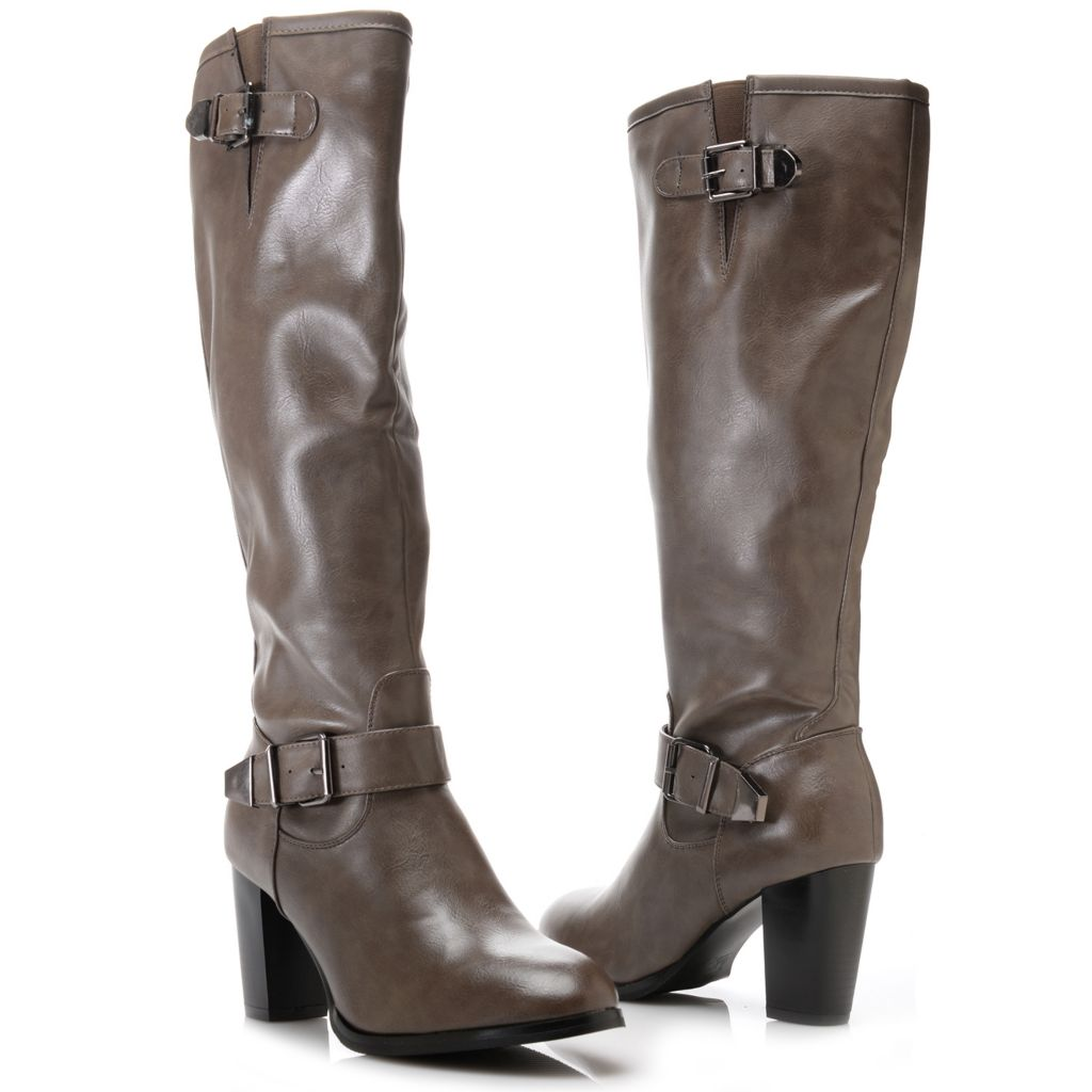 719-337 - Corkys Double Buckle Detailed High Heel Knee-High Boots