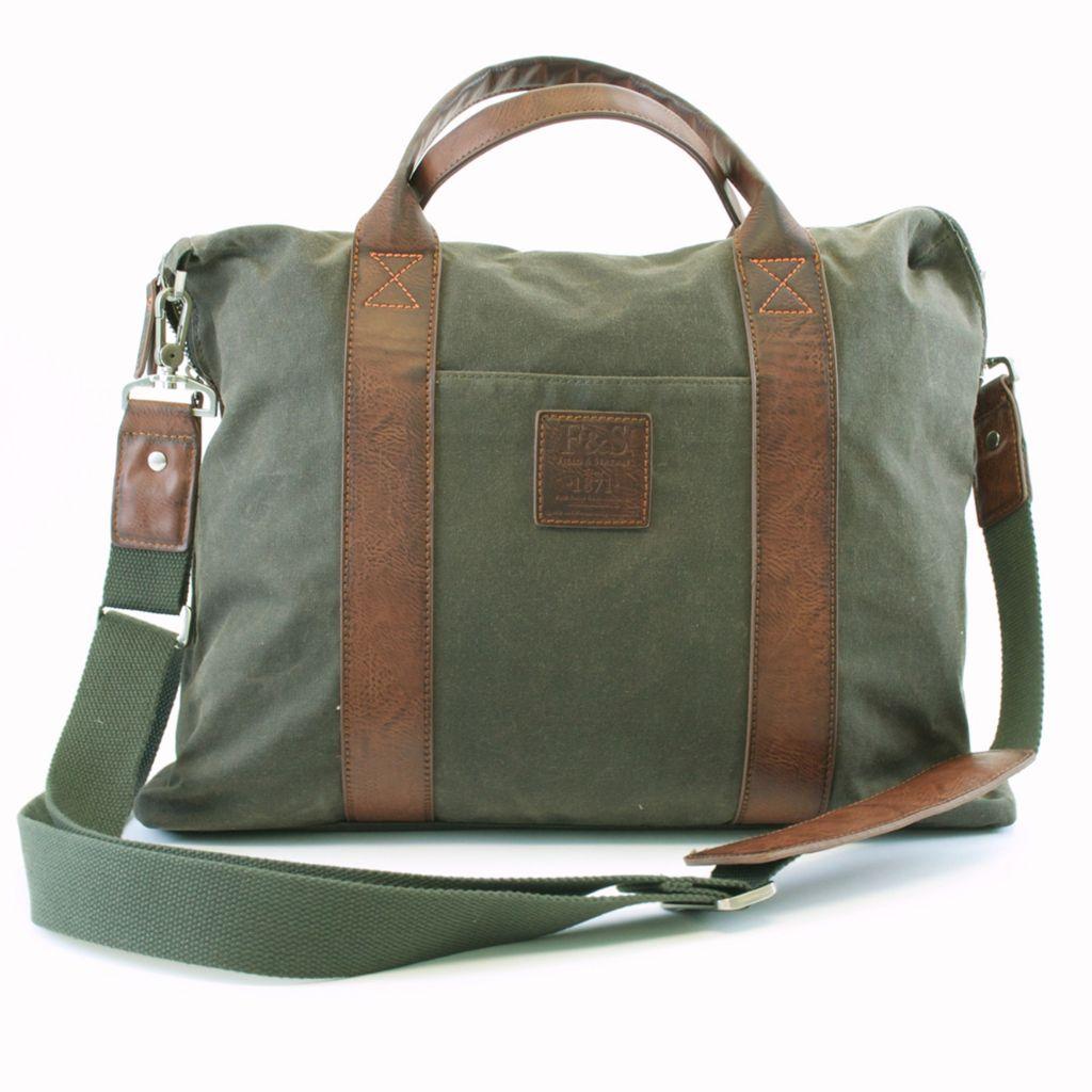 719-354 - Field & Stream Canvas Double Handle Briefcase w/ Shoulder Strap