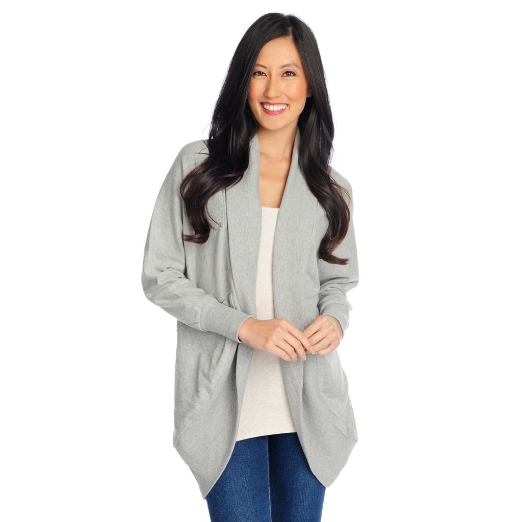 719-362 - OSO Casuals French Terry Dolman Sleeved Ribbed Trim Cocoon Cardigan
