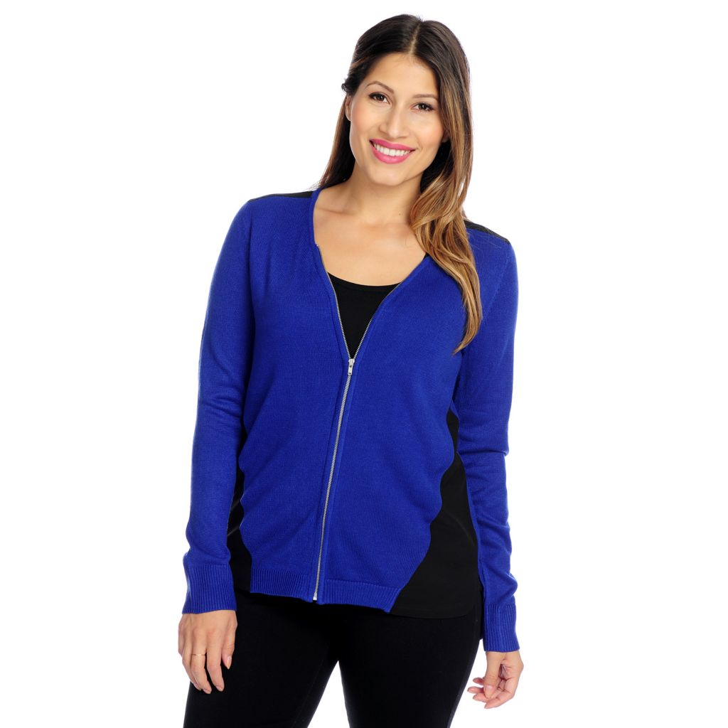 719-371 - Kate & Mallory Mixed Media Long Sleeved Zip Front Cardigan