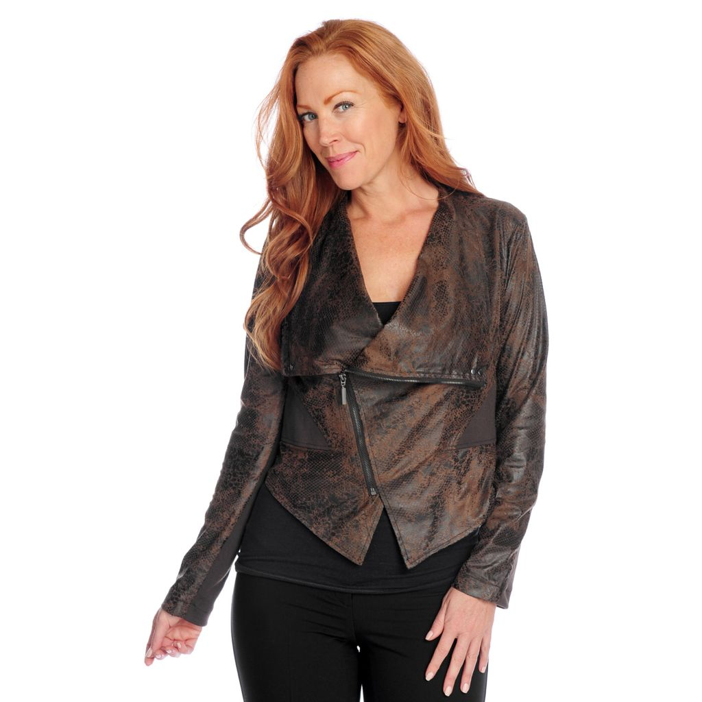 719-377 - Kate & Mallory Faux Suede Long Sleeved Asymmetrical Zip Knit Insert Jacket