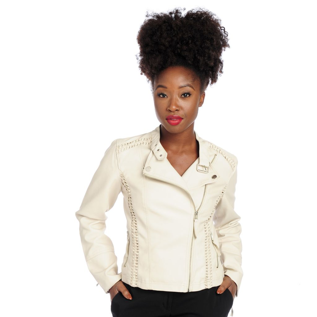719-378 - Kate & Mallory Faux Leather Long Sleeved Braided Detail Moto Jacket
