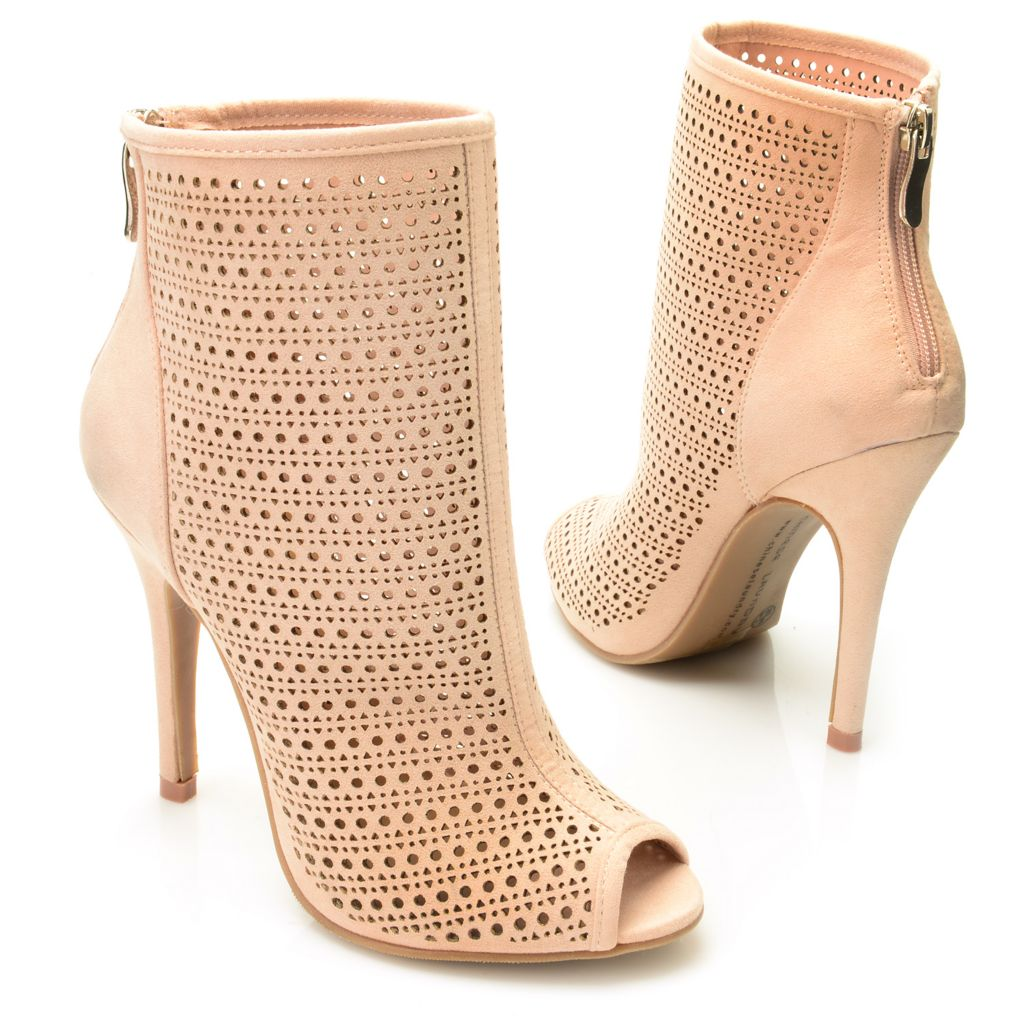 719-386 - Chinese Laundry Sueded Peep Toe Cut-out Design Stiletto Heel Ankle Boots