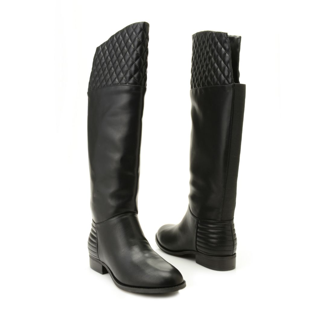 719-388 - Chinese Laundry Quilted Pattern Round Toe Riding Boots