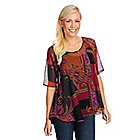 719-392 - Kate & Mallory Printed Woven Elbow Sleeved Shirttail Hem Sheer Top w/ Tank