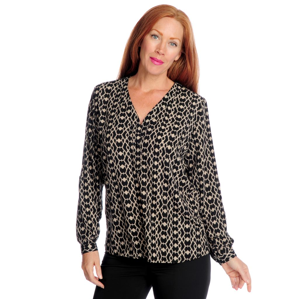 719-393 - Kate & Mallory Printed Woven Roll Tab Sleeved Two-Button Y-Neck Blouse