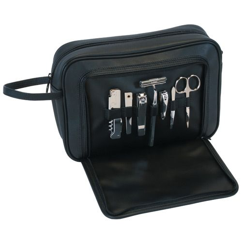 719-415 - Royce Leather Seven-Piece Stainless Steel Grooming Kit w/ Leather Travel Bag