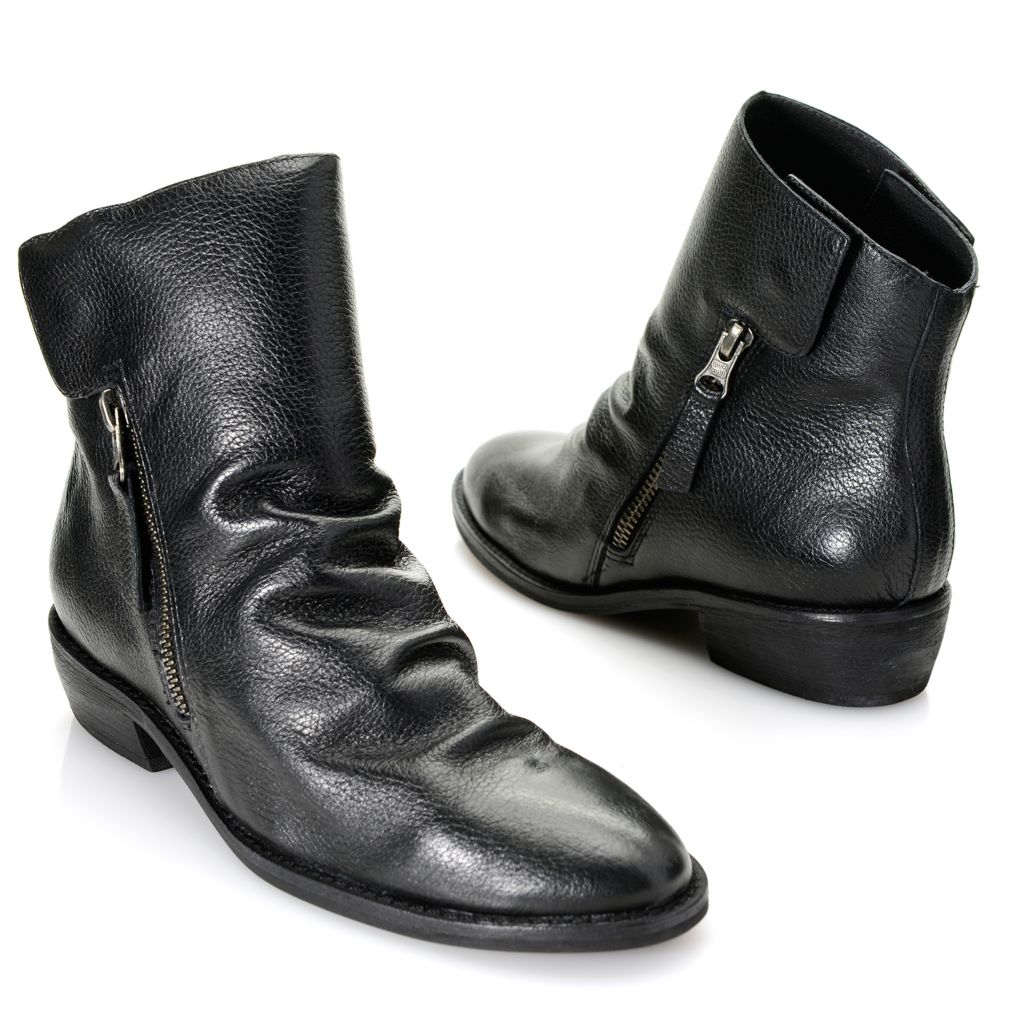719-533 - Matisse® Tumbled Leather Zip & Snap Ankle Boots