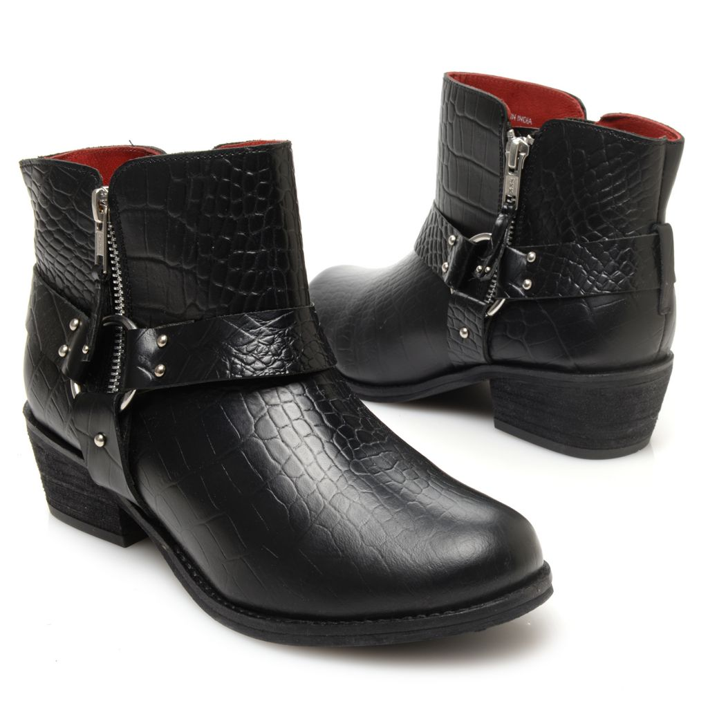 719-534 - Matisse® Reptile Embossed Leather Harness Detailed Ankle Boots