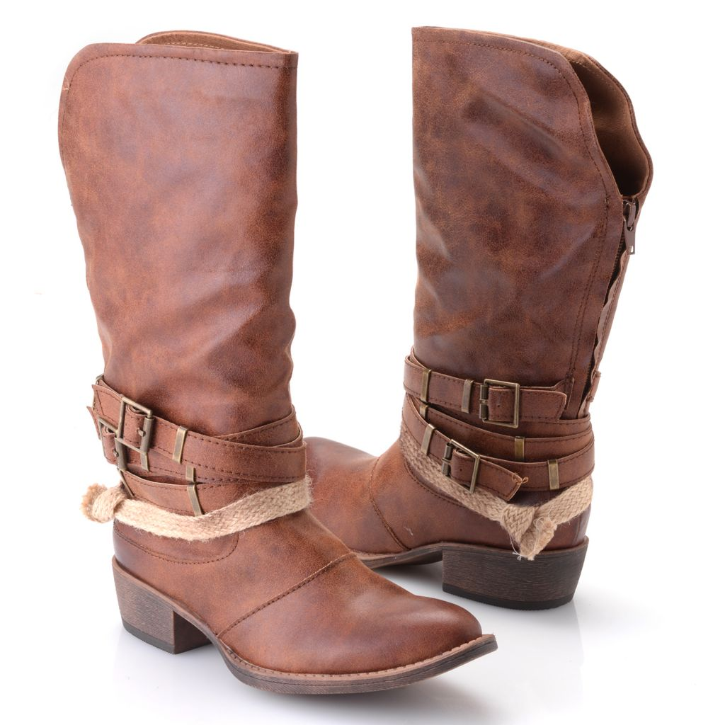 719-538 - Matisse® Back-Zip Buckle & Rope Embellished Mid-Calf Boots