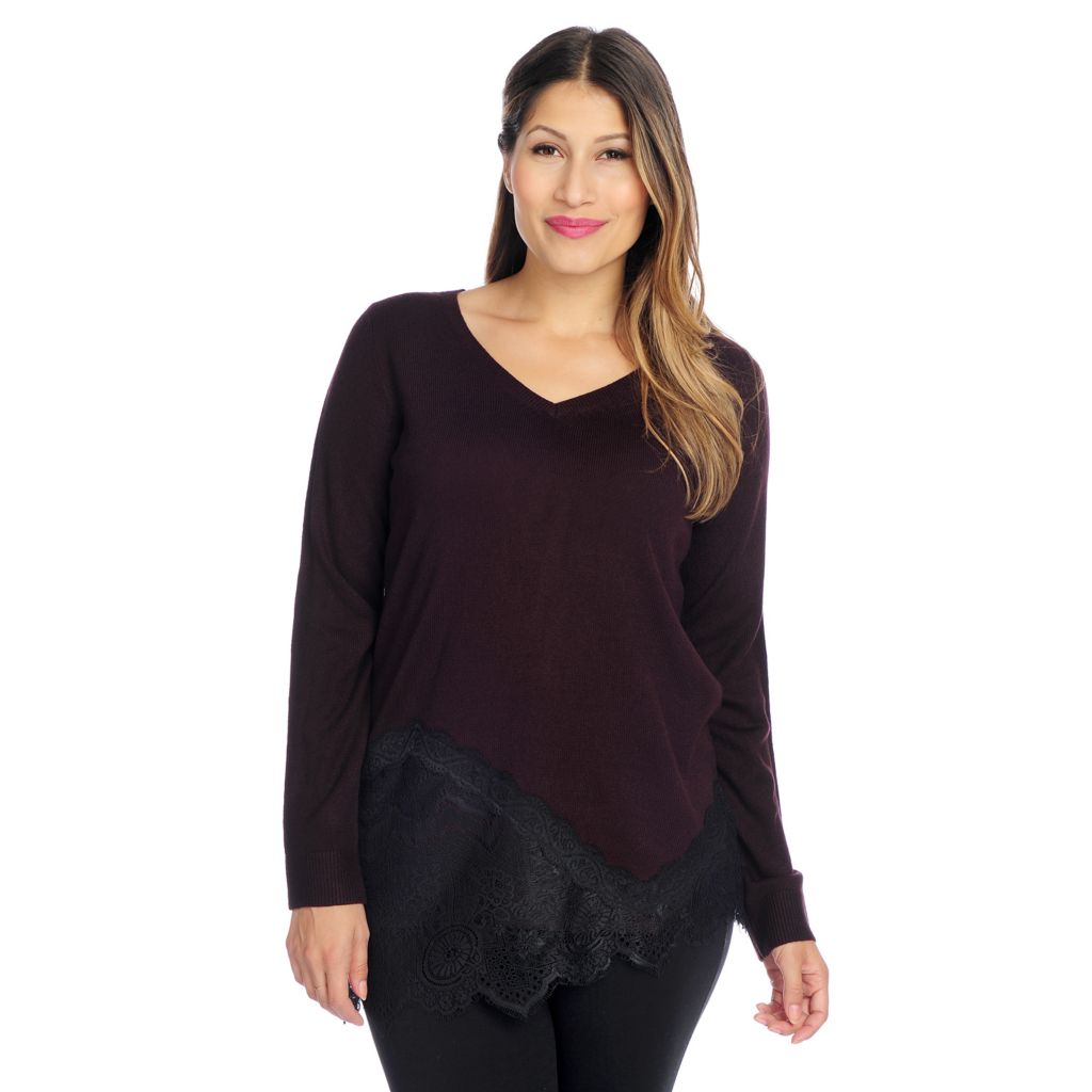 719-544 - Kate & Mallory Sweater Knit Long Sleeved Asymmetrical Hem Lace Detailed Top