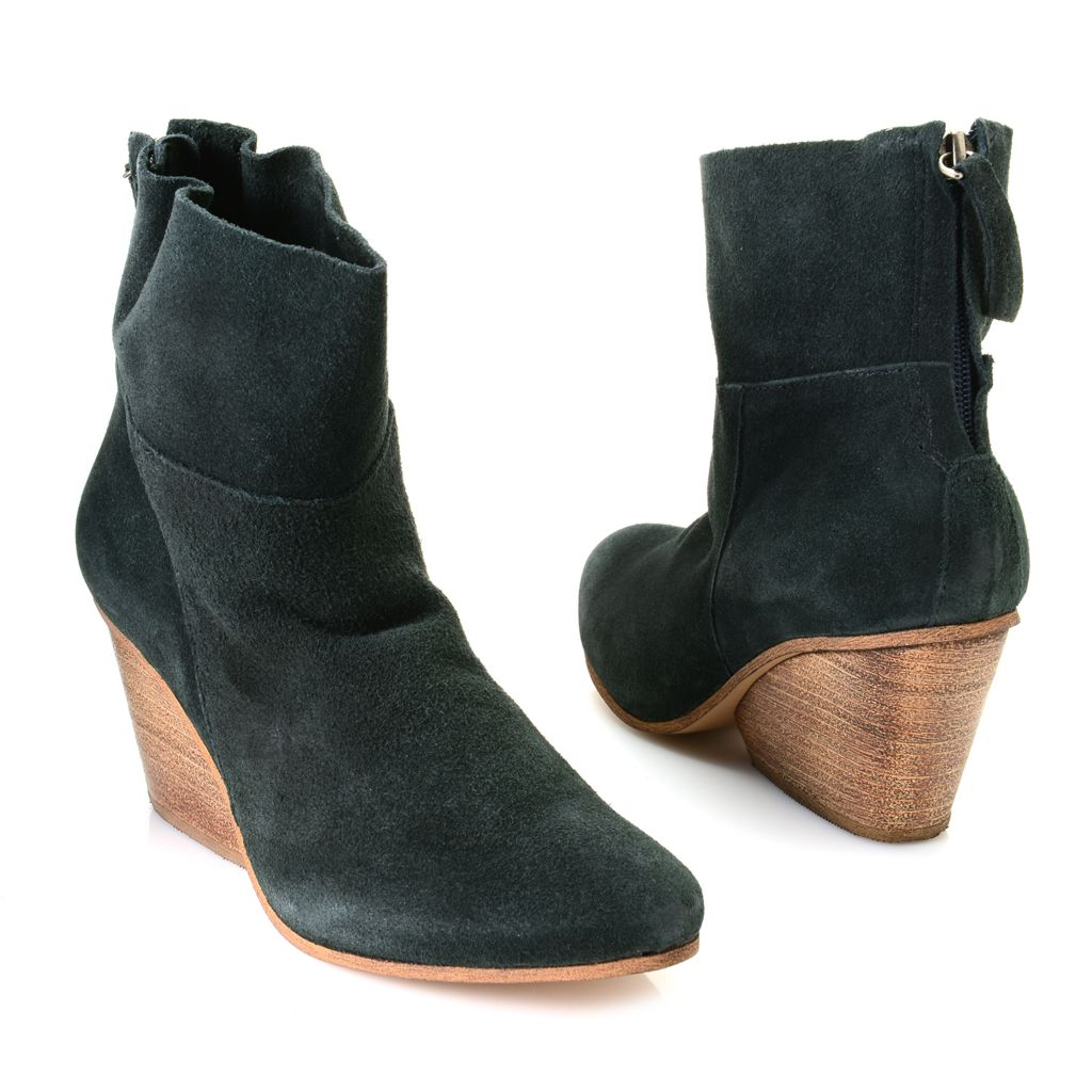 719-582 - Matisse® Suede Leather Back Zip Slouchy Wedge Ankle Boots