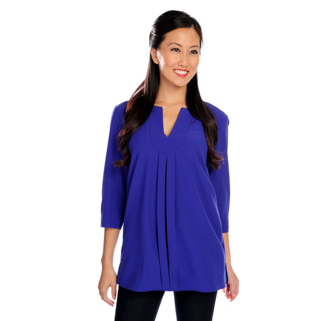 719-596 - Kate & Mallory Woven 3/4 Sleeved Double Pleated Notch Neck Top
