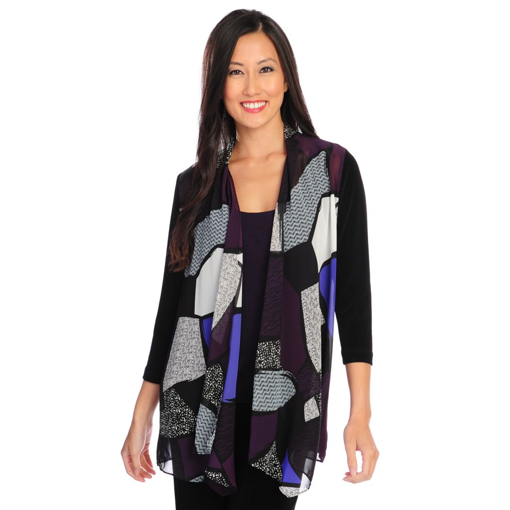 719-619 - Affinity for Knits™ 3/4 Sleeved Chiffon Front Cardigan & Tank Top Set