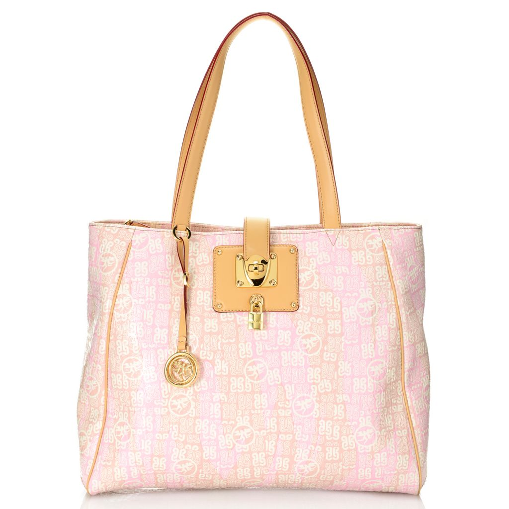 719-773 - Piero Guidi Coated Canvas Monogram Embossed Collection Large Shopper Tote Bag