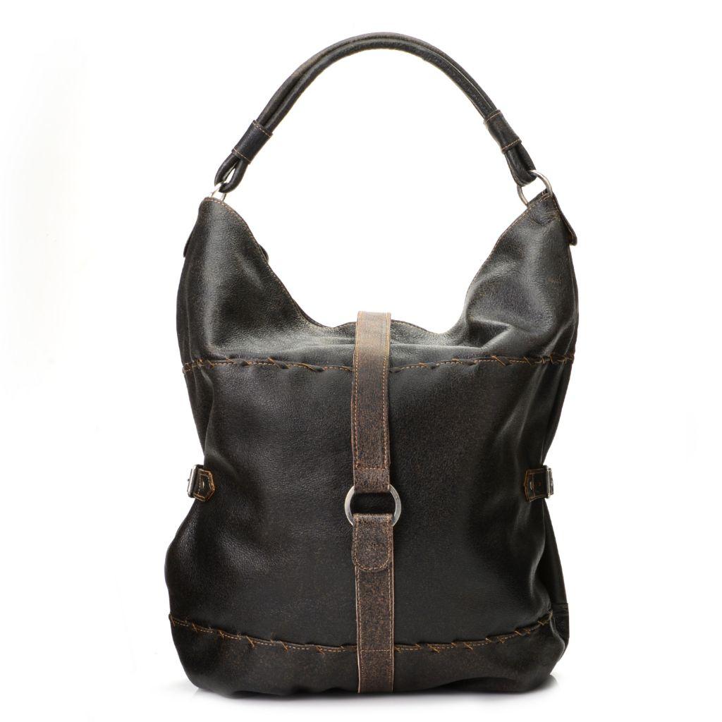 719-778 - Labrado™ Leather Distressed Rolled Handle Buckle Detailed Large Hobo Handbag