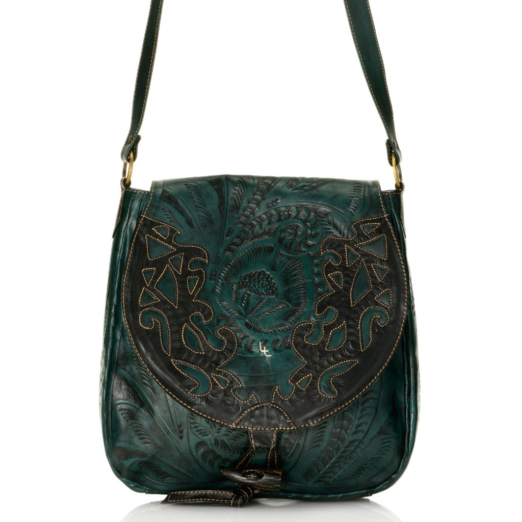 719-780 - Labrado™ Leather Hand-Tooled Cut-out Design Distressed Cross Body Bag