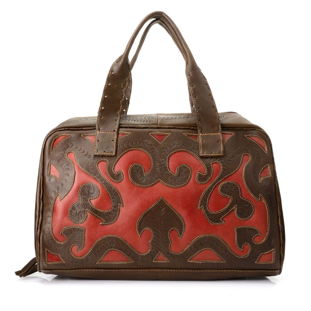 719-786 - Labrado™ Leather Hand-Tooled Cut-out Design Double Handle Tote Bag w/ Strap