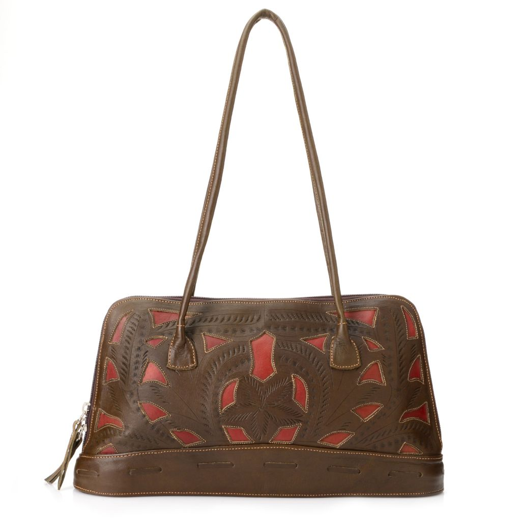 719-788 - Labrado™ Leather Hand-Tooled Cut-out Design Double Handle Domed Tote Bag