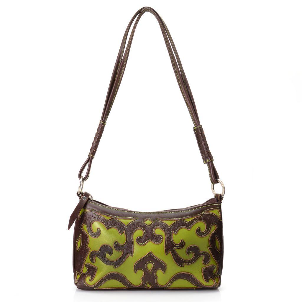 719-791 - Labrado™ Leather Hand-Tooled Cut-out Design Zip Top Shoulder Bag