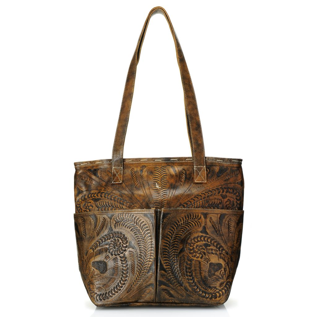719-794 - Labrado™ Leather Hand-Tooled Distressed Zip Top Multi Pocket Shopper Tote Bag