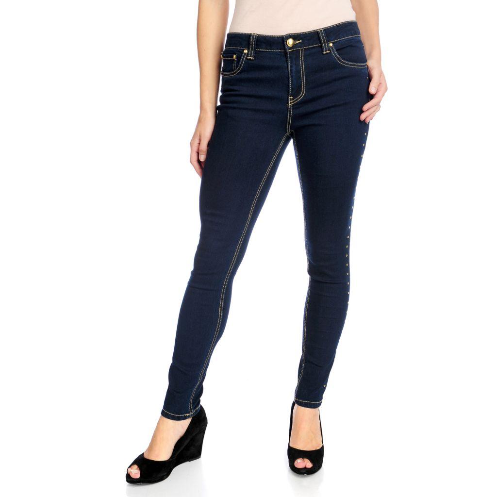 719-834 - Kate & Mallory Stretch Denim Five-Pocket Studded Side Seam Slim Leg Jeans
