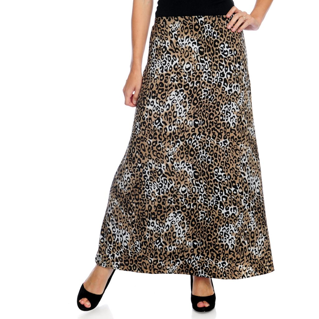 719-842 - Kate & Mallory Printed Knit Pull-on Maxi Skirt
