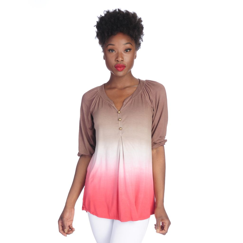 719-852 - Kate & Mallory Dip-Dyed Knit Raglan Sleeved Three-Button Peasant Top