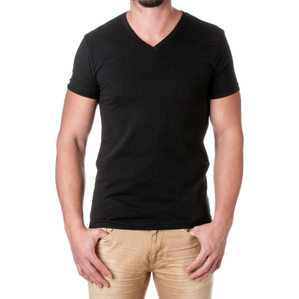 719-956 - NLA Men's 100% Cotton Knit Short Sleeved V-Neck Premium Tee