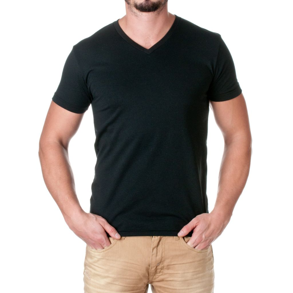 719-974 - NLA Men's Cotton Blend Knit Short Sleeved V-Neck Premium Tee