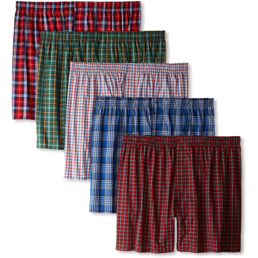 719-989 - Hanes Classics Men's Five-Pack of Tartan Plaid Boxer Shorts