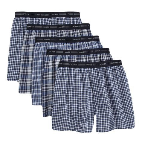 719-991 - Hanes Classic Five-Pack of Men's Plaid Tagless Boxer Shorts w/ Comfort Flex Waistband