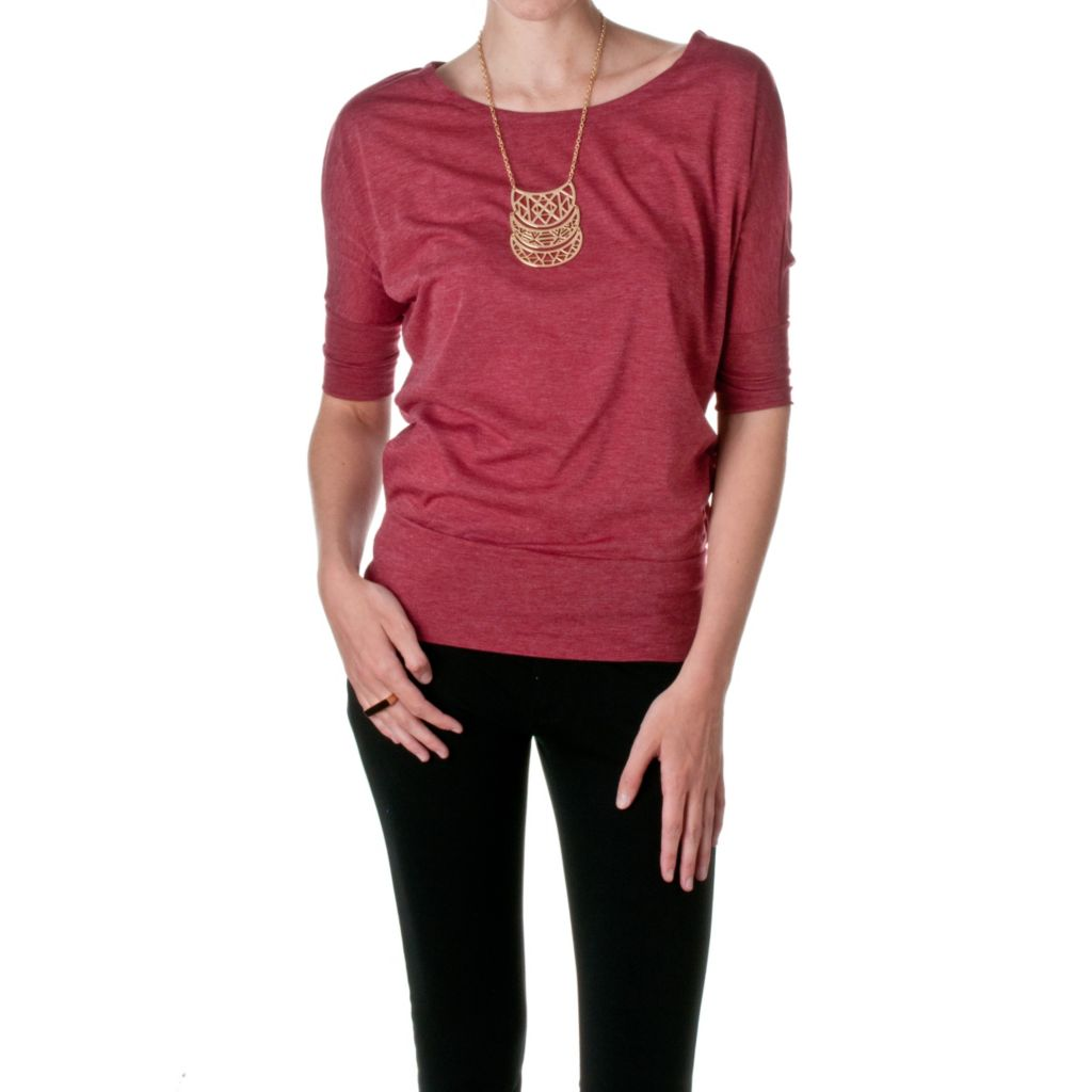 720-051 - Riverberry Knit Elbow Dolman Sleeved Boat Neck Top