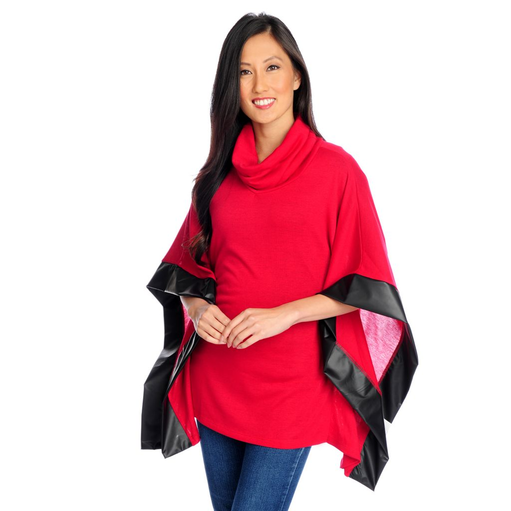720-068 - Kate & Mallory Sweater Knit Cowl Neck Faux Leather Trim Poncho