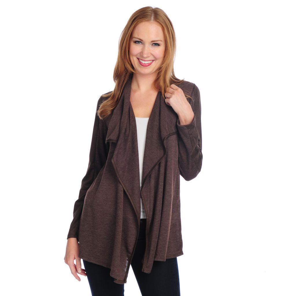 720-069 - Kate & Mallory Sweater Knit Long Sleeved Faux Suede Trim Cascade Cardigan