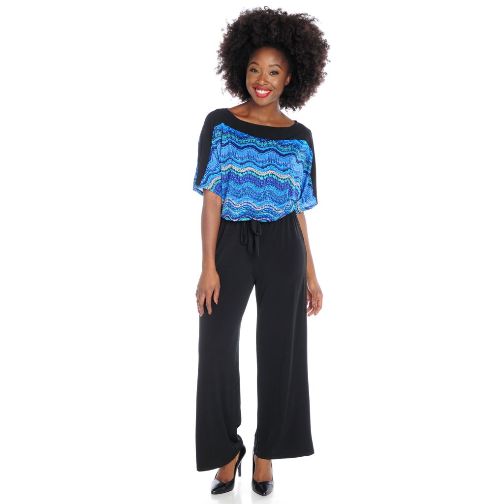 720-072 - Kate & Mallory Knit Dolman Sleeved Wide Leg Jumpsuit w/ Self-Tie
