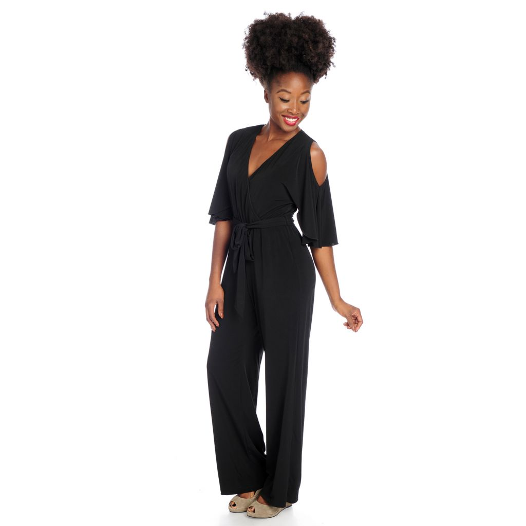 720-073 - Kate & Mallory Knit 3/4 Sleeved Cold Shoulder Self-Tie Jumpsuit