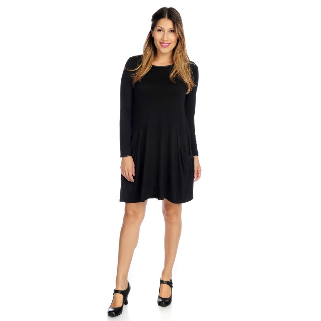 720-074 - Kate & Mallory Knit Long Sleeved Two-Pocket Sharkbite Dress