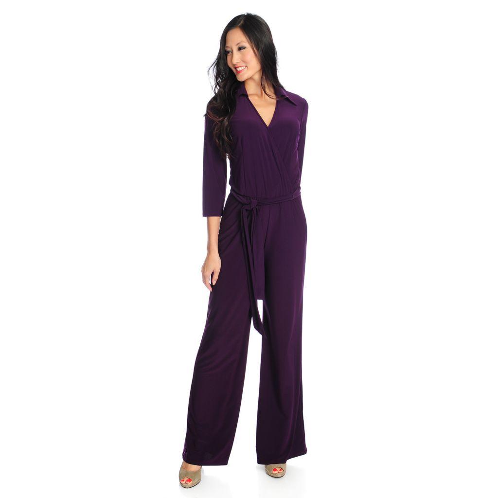 720-133 - aDRESSing WOMAN Knit 3/4 Sleeved Self-Tie Waist Wide Leg Jumpsuit