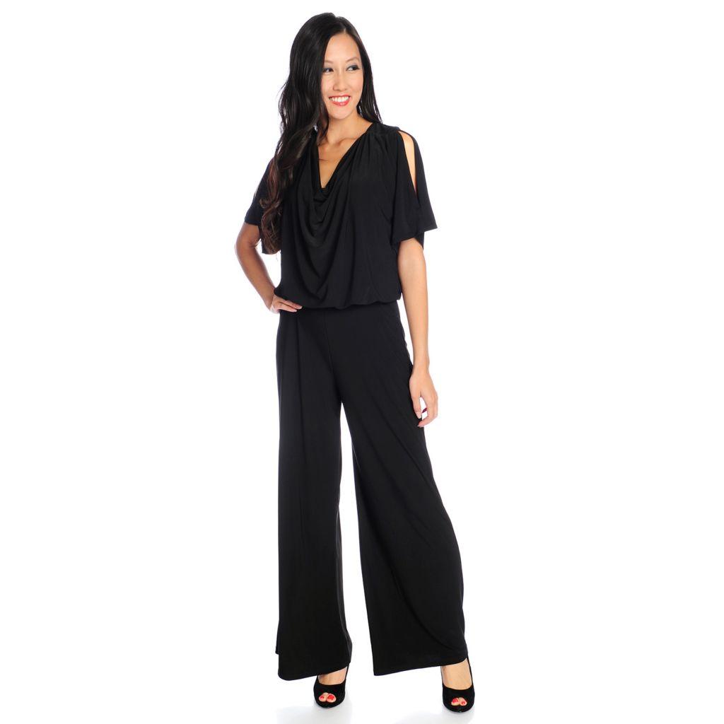 720-134 - aDRESSing WOMAN Knit Dolman Sleeved Cold Shoulder V-Back Jumpsuit