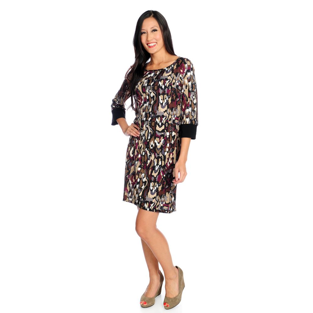 720-138 - aDRESSing WOMAN Printed Knit 3/4 Sleeved Contrast Cuff Knee Length Dress