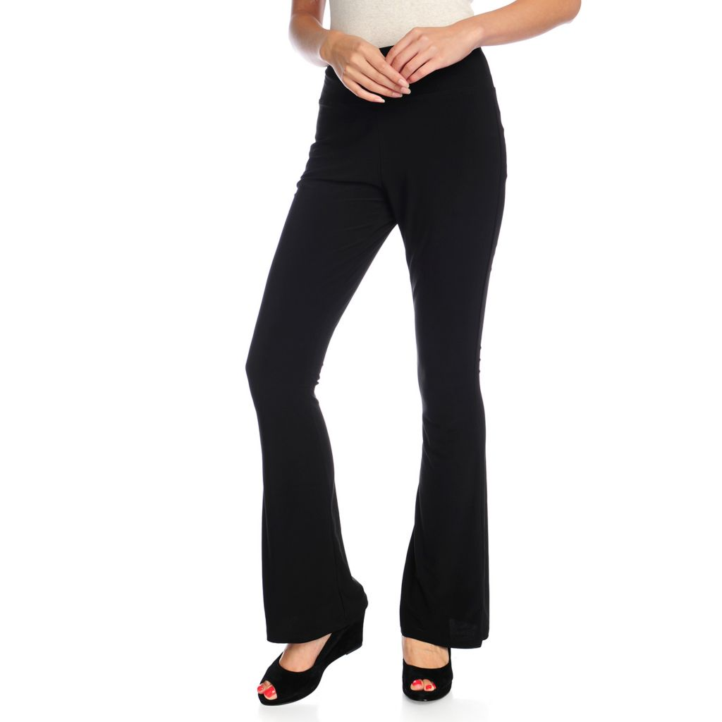 720-139 - aDRESSing WOMAN Knit Wide Waistband Bootleg Pull-on Pants