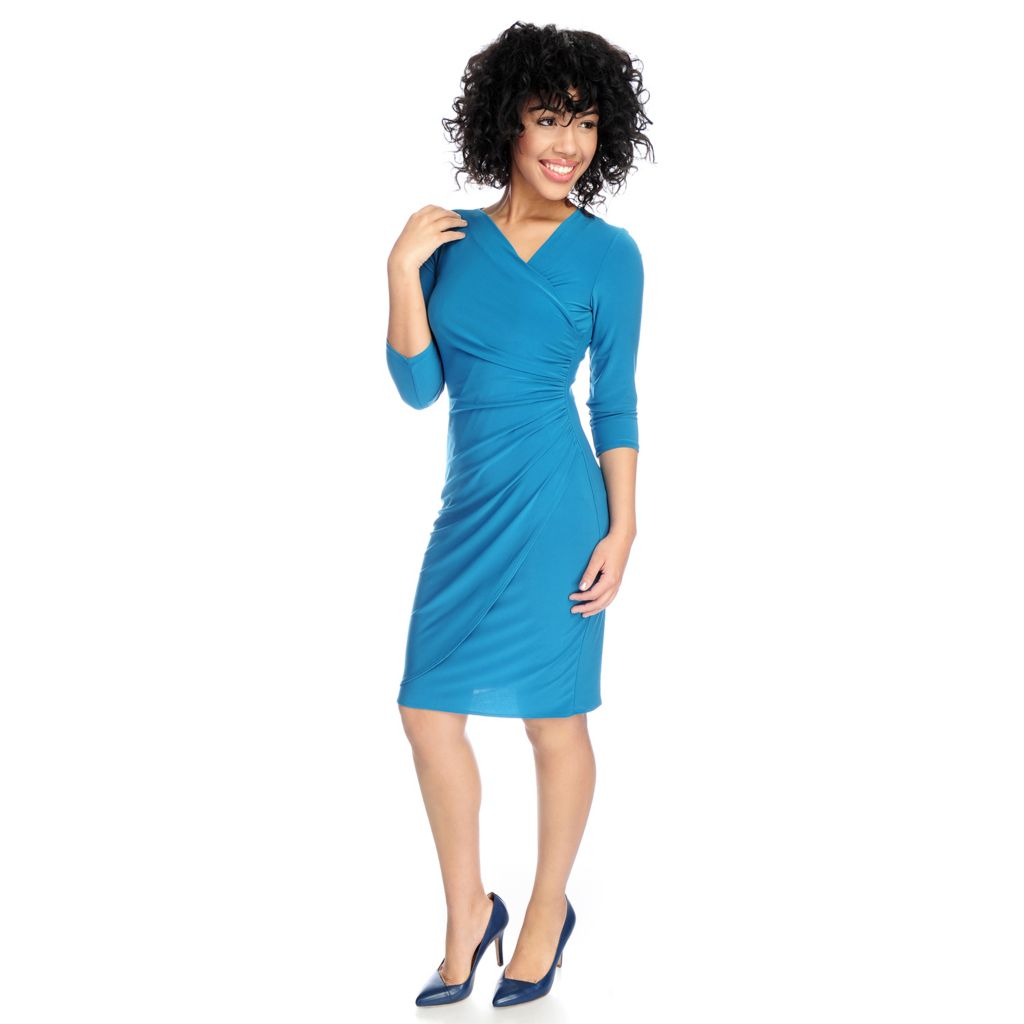720-140 - aDRESSing WOMAN Knit 3/4 Sleeved Ruched Detail Knee Length Dress
