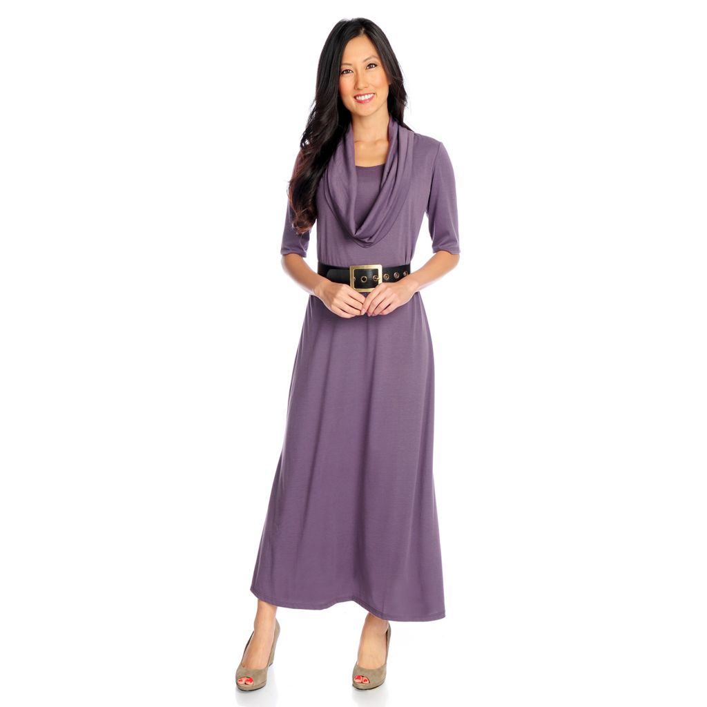720-142 - aDRESSing WOMAN Knit Elbow Sleeved Cowl Neck Maxi Dress w/ Belt