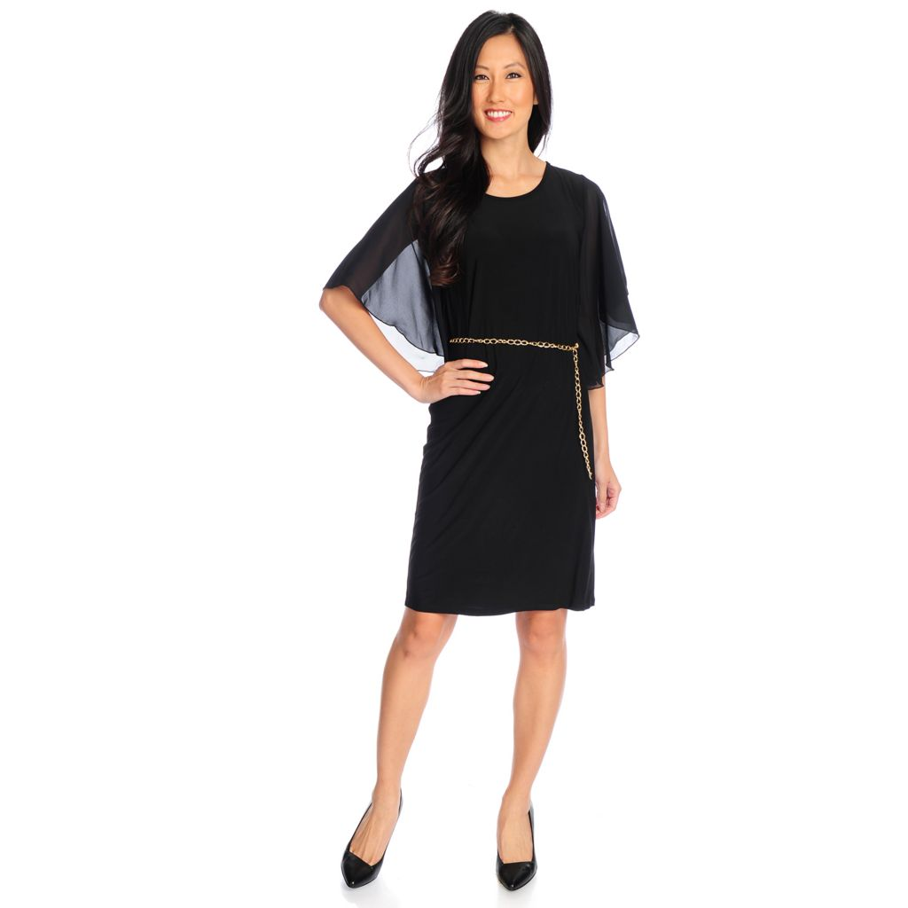 720-143 - aDRESSing WOMAN Knit 3/4 Sleeved Ruched Detail Knee Length Dress